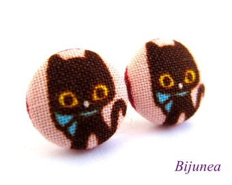 Cat earrings - Black cat earrings - Cat stud earrings - Black cat posts - Black cat post earrings - Cat studs sf779