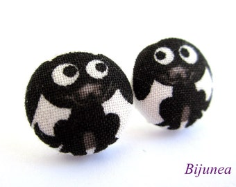 Dog earrings - Black dog stud earrings - Black dog post earrings - Black dog posts sf800