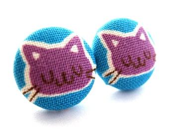 Cat earrings - Purple cat stud earrings - Cat studs - Cat post earrings - Purple cat posts sf837