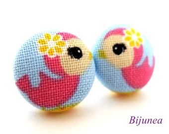 Bird earrings - Pink bird stud earrings - Bird studs - Bird post earrings sf849