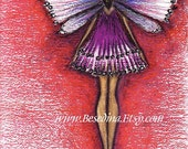 Fairy in Red  print of my Original pastel drawing