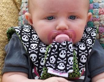Skull and Crossbone Pirate Pacifier Bib