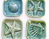 One Nautical Soap dish: Made to order square starfish shell dishes handmade ocean surf art choose design and color