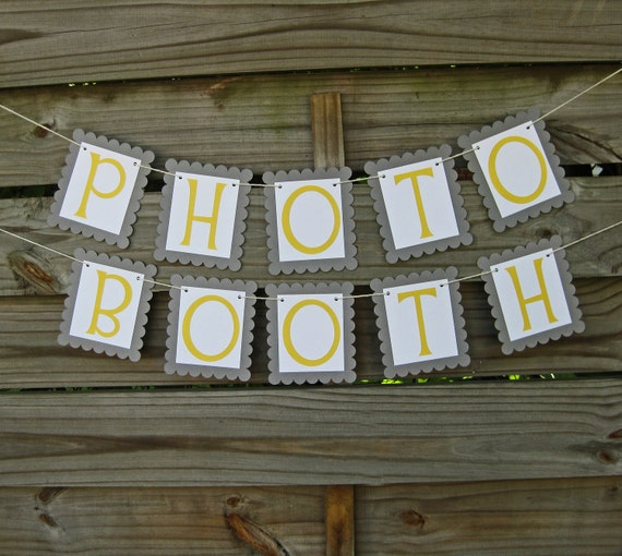 Photo Booth Banner in Grey and Yellow