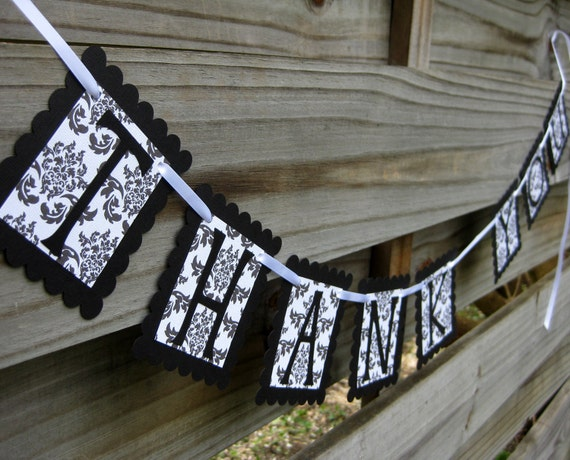 Thank You Banner in Black Damask