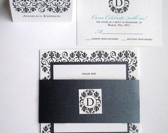 Black Tie Wedding Invitation set, elegant wedding invitations, luxury invitation, Turquoise invite, unique bat mitzvah invite, formal invite