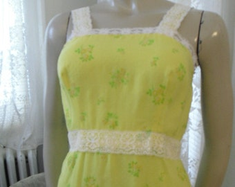 Vintage Simple Little Yellow Flowered Sun Gown With Swiss Dots and Ruffled lace