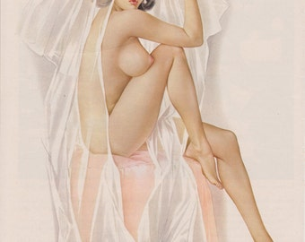 85#  MATURE Vargas Blue Eyed bride  Nude Wedding Pin-Up Girl From Playboy Feb 1965 Issue