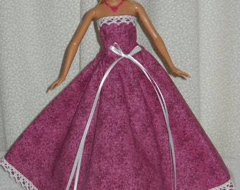 Barbie Doll Dress Handmade Pink Gown
