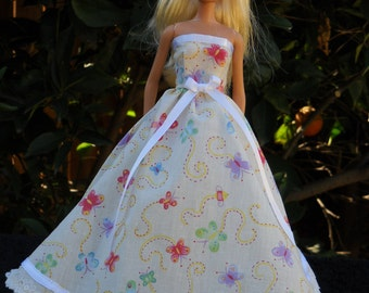 Barbie Doll Dress Handmade Yellow with Butterflys and Lace Gown