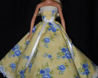 Barbie Doll Dress Handmade Yellow with Blue Flowers Strapless Gown