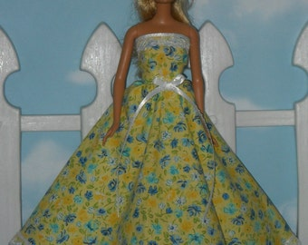 Barbie Doll Dress Handmade Yellow with Blue Flowers Gown