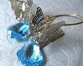 Papillion earrings - Swarovski crystal with silver filigree in Aqua (last piece)