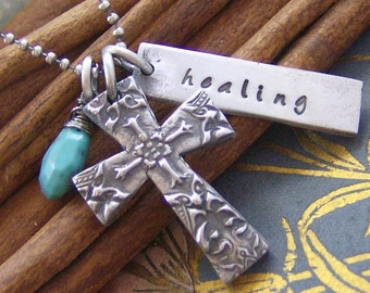 Antique cross... hand stamped fine silver and fresh water pearl cross necklace