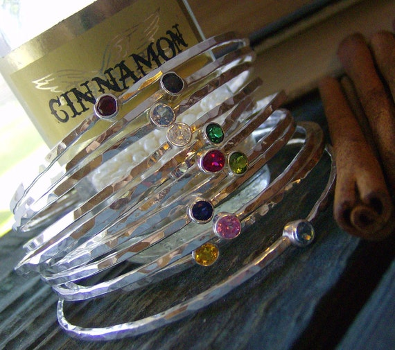 fine silver and gem stone hammered stacking bangles hand stamped