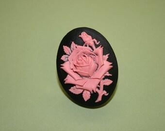 Large Pink & Black Rose Cameo Ring