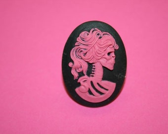 Large Hot Pink Skull Lady Cameo Ring