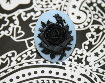Large Blue and Black Rose Cameo Ring