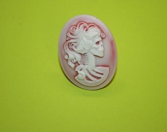 SALE Large Ashy Red Skull Lady Cameo Ring
