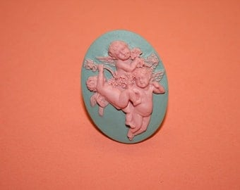SALE ITEM...Large Mint Green and Pink Cherubs Cameo Ring