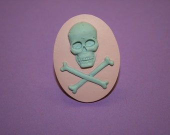 Large Mint and Pink Skull and Crossbones Cameo Ring
