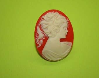 Large Red Victorian Lady Cameo Ring