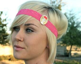 SALE Large Barbie Hot Pink Lace Headband