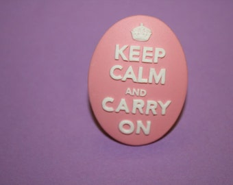 SALE Large Light Pink Keep Calm and Carry On Cameo Ring