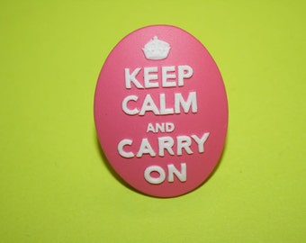 SALE Large Hot Pink Keep Calm and Carry On Cameo Ring