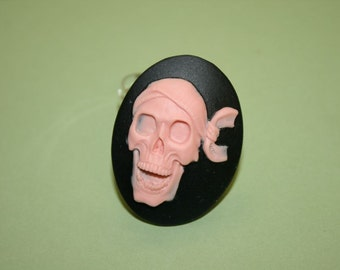 Large Pink Pirate Skull Cameo Ring