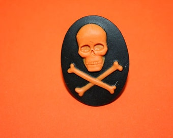 Large Orange Skull and Crossbones Cameo Ring