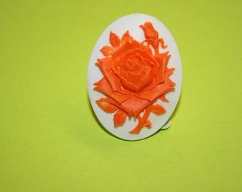 Large Neon Orange Rose Cameo Ring