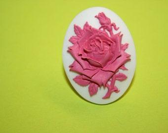 Large Hot Pink Rose Cameo Ring