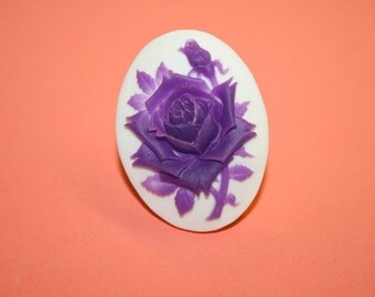 Large Violet Rose Cameo Ring