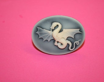 Large Ashy Black Dragon Game of Thrones Cameo Ring