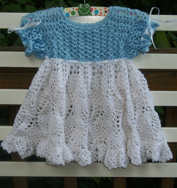 Crochet Baby Dress ... ... Blue and White ... READY TO SHIP ...  0 to 3 months ... custom options available