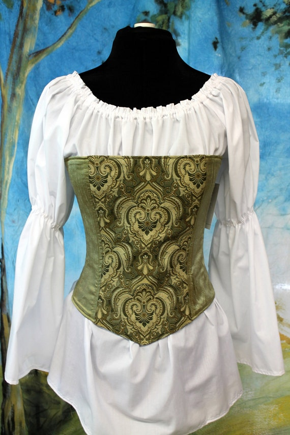 Green Silk Overbust Corset for  Pirate, Gypsy, Steampunk, size 23, Ready to Ship
