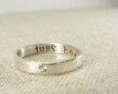 Personalized Jewelry -  Personalized Ring -  Birthstone Ring - Posey Ring - Silver Birthstone Secret Message Ring