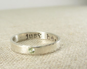 Wife Gift - Personalized Jewelry -  Personalized Ring -  Birthstone Ring - Posey Ring - Silver Birthstone Secret Message Ring