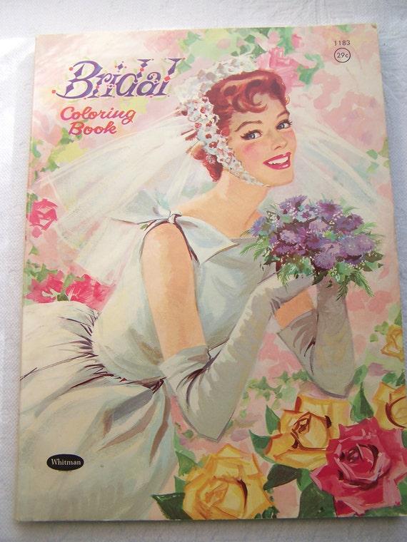 1961 Vintage Bridal Coloring Book Whitman Publishing