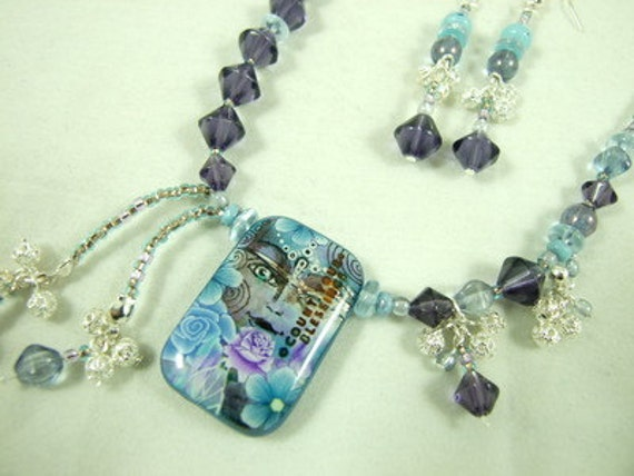 Blue Jewellery SET - Artist Bead 'Count You Blessings' Offset Multi-Pendant Necklace & Earrings