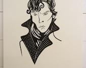 Benedict Cumberbatch Sherlock portrait - linocut print