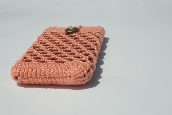 Orange Cell Phone Sleeve  Crochet Phone Holder On Sale