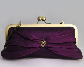 Royal Purple Evening Silk  Clutch MAIA