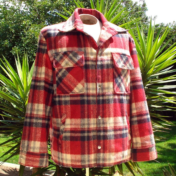 Vintage Catalina Wool Coat - Men - Rockabilly - Red Plaid -Snap Front