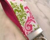 Hot Pink-White-Lime Madison Damask--Key Fob Key Chain/Wristlet-with Swivel Hook