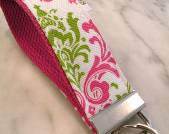 Hot Pink-White-Lime Madison Damask--Key Fob Key Chain/Wristlet-with Swivel Hook