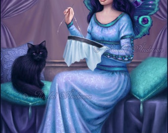 Ariadne Art Print - Butterfly Fairy & Cat Painting