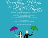 Cute PRINTED French Quarter Wedding Invitation or Save the Date: New Orleans, Second Line, Umbrella, Bride, Groom