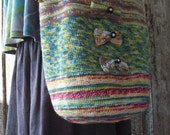 Shoulder Bag Crochet Linen lined multi colored delicate with bows and vintage buttons all natural materials